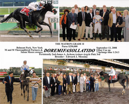 DOREMIFASOLLATIDO bred by Edward J. Messina wins the G2 Matron Stake at Belmont Park and becomes New York Bred Two Year Old Champion